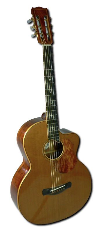 Koa and Cedar acoustic guitar by Evergreen Mountain Musical Instruments
