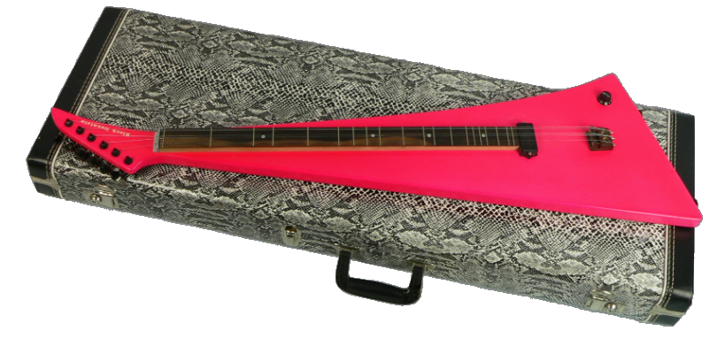 "Photo of Mark's hot pink electric dulcimer, ""The Pink Thing."""